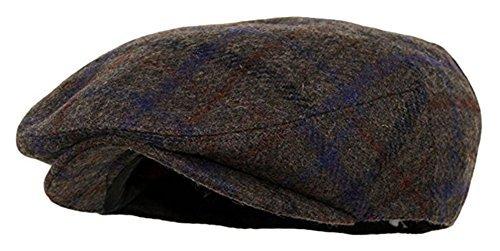 Wool Blend Snap - Men's Premium Wool Blend Snap Brim Newsboy Cabbie Cap Hat (Medium, Plaid Brown)