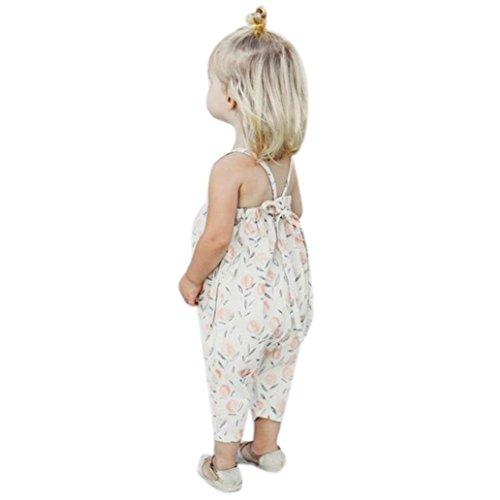 Franterd Baby Girls Straps Rompers, Kid Flower Print Jumpsuits Piece Pants Clothing (White, 5T)
