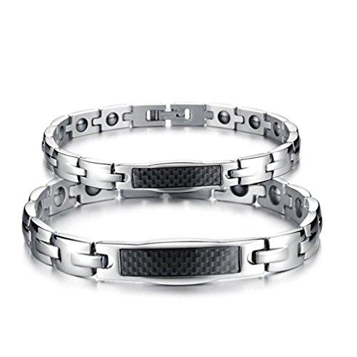 - Ubeauty1999 Titanium Magnetic Therapy Carbon Fiber Bracelet Chain Cuff Link Health Care Couples Jewelry (Couples Bracelet)