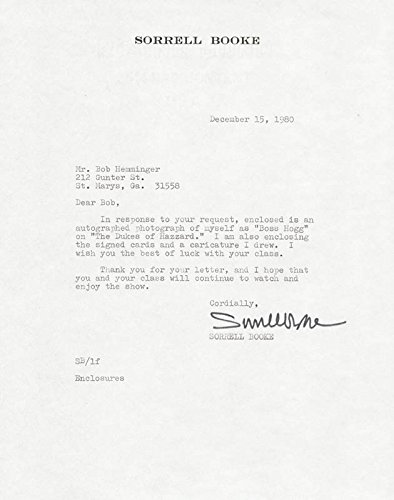 Sorrell Booke - Typed Letter Signed 12/15/1980 (Tom And Jerry Centerpiece)