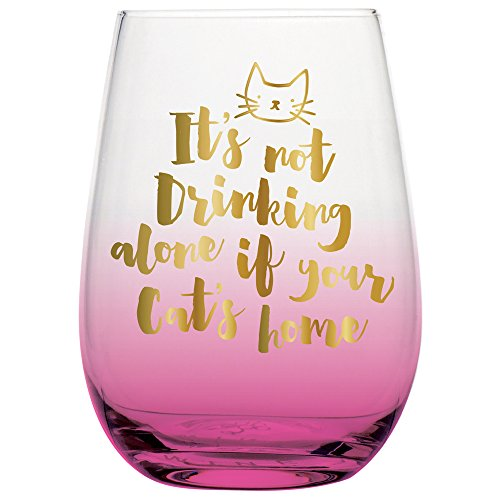 Not Drinking Alone If The Cat Is Home - 20 oz Funny Stemless Wine Glass for Cat Lovers (Rose Gold) by SassyCups (Image #1)