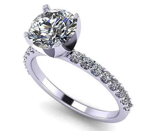 NANA Silver 7.5mm (1.5ct) Round Cut Zirconia Solitaire Engagement Ring-Platinum Plated-Size 9