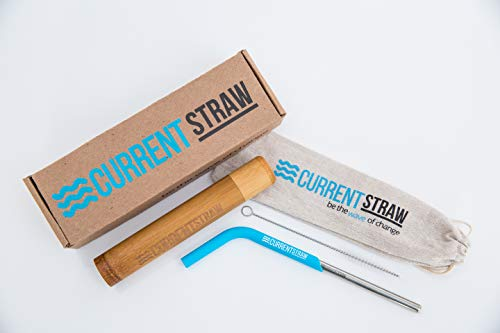 CurrentStraw - Single Pack - Eco-Friendly Reusable, Premium Stainless Steel Metal Drinking Straw with Custom Silicone Tip | Handcrafted Bamboo Travel Case & Stylish Pouch | Zero Waste | by CurrentStraw (Image #1)