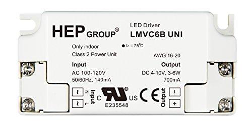 ROBERTSON 3P30073 LMVC6BUNI LED Driver, 3-6 Watt, 100-120Vac Input 630-770mA Constant Current, 4-10Vdc Output