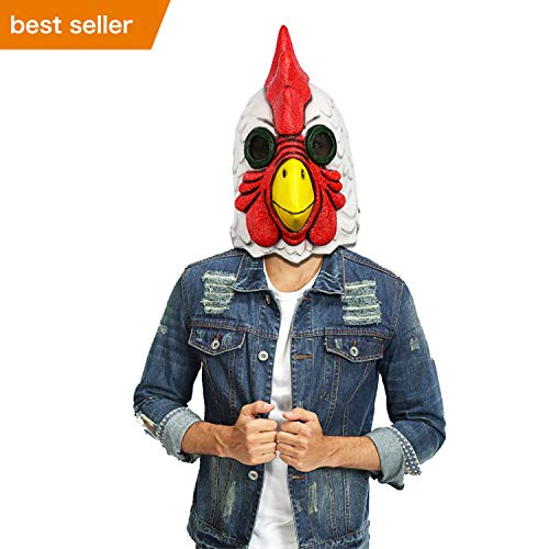Rooster Mask Costume Animal Mask - Deluxe Latex Cock Face Mask Full Head Props for Cosplay -