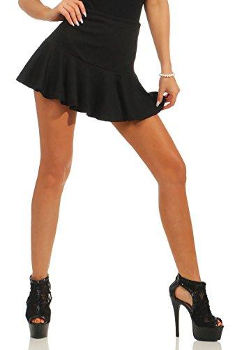5160 Fashion4Young Damen Rock Minirock Spitze Glockenrock Spitzenrock Gummizug weiter Rock Schwarz