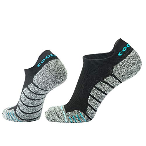 COOLMAX Brand Performance light compression support No show cushion Socks (3 pairs) for Men & Women Socks (Size L, CMB7S)