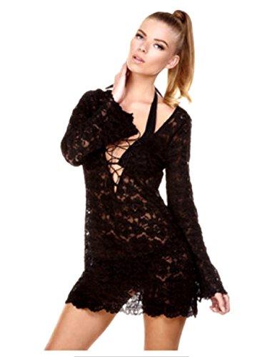 Las Mujeres Del Traje De La Cubierta De Playa Pareo Vestido De Encaje - Un TamañO - Colores Disponibles (Negro)