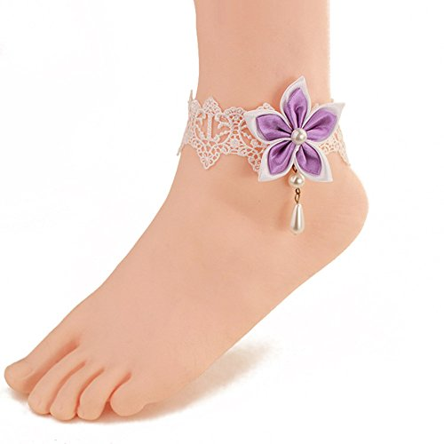 Wowlife Purple Chinese Redbud Flower Lace Ankle Ring Foot Sandal Beach Wedding Ankle Bracelet Women Girls Anklet Bracelet