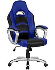 LANGRIA High-Back Computer Gaming Chair, PU Leather Ergonomic Office Chair Padded Footrest Armrests, Adjustable Seat Height, Tilting Back, 360 Degree Swivel