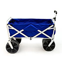 Mac Sports Heavy Duty Collapsible Folding All Terrain Utility Beach Wagon Cart, Bluewhite
