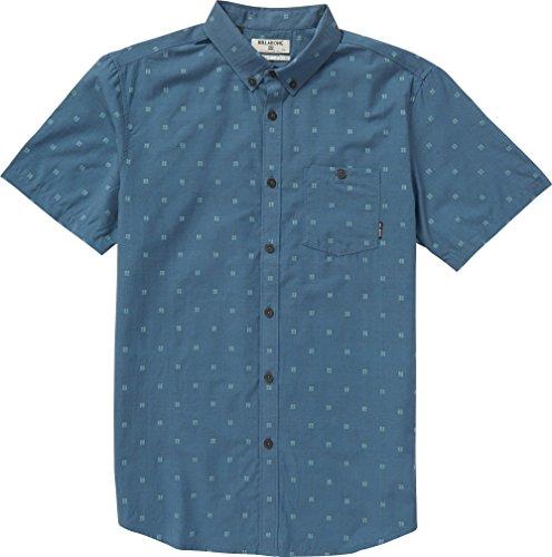 Billabong Big Boys' All Day Jaquard Short Sleeve Shirt, Deep Blue, (Billabong Blue Shirt)