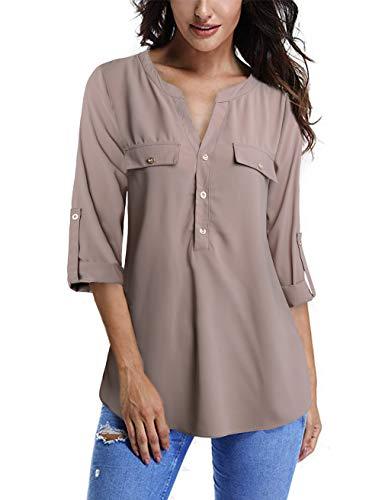 FANSIC Long Sleeve T Shirt Womens,Women High Low Hem Button Down Light Apricot M
