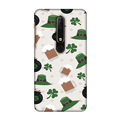 New Nokia 6 2018 Case - Shamrock, hats, beer and potluck - Forest green, Premium Handcrafted Designer Snap On Case Printed Hard Plastic Back Cover With Screen Cleaning Kit Hat New Beer