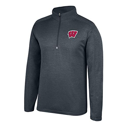 (Top of the World NCAA Men's Wisconsin Badgers Dark Heathered Poly Half Zip Pullover Charcoal Heather X Large)