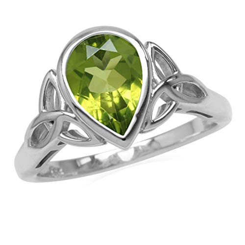 Genuine 2 CT 10x7MM Peridot 925 Sterling Silver Triquetra Celtic Knot Ring Size 8 (Peridot Knot Celtic)