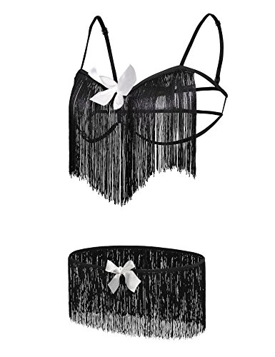 [Women Plus Size Sexy Lingerie Set, Fringe Elastic Strap Bra and Panty Set for Sex Flirt] (Cheerleader Outfit For Sale)