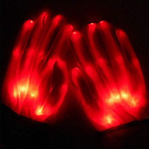 ABDQPC LED Gloves Multi-Color Changing Flashing Skeleton Gloves for Christmas Halloween Costume Party Concert 1 Pair Red