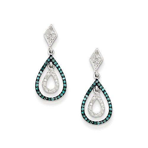 Blue & White Diamond Double Teardrop Post Earrings in Sterling Silver