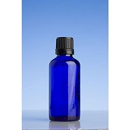 50 ml azul botellas de vidrio con cuentagotas negro precinto tapón para aceite esencial/aromaterapia