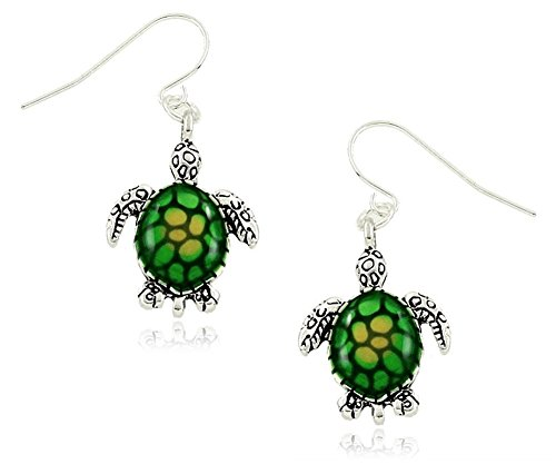 [Small Green/Yellow Sea Turtle Charm Dangle Earrings Fashion Jewelry] (Father And Daughter Halloween Costume Ideas)