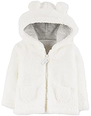 Carters Infant Girls White Sherpa Fleece Hoodie Coat Zip Front Jacket