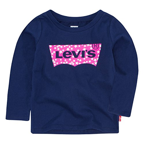 Levi's Baby Girls Long Sleeve Graphic T-Shirt, Medieval Blue, (Levis Long Sleeve Tee)