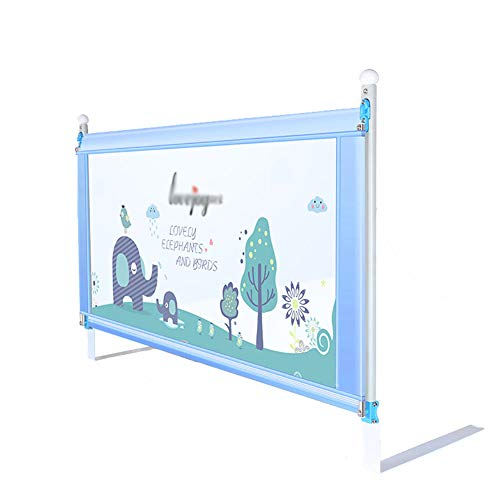 Baby Shatter-Resistant Anti-Drop Bed Guardrail Infant Children's Fence Heightening Bed Baffle Vertical Lifting and Down, 1 Side, 1.5m/1.8m/2m, Blue, Thick/Thin Mattress Optional