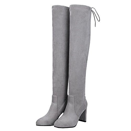 Boots Over Women Chunky Large knee the Grey And With Heel Materail High Sjjh Suede HIZ1gn1