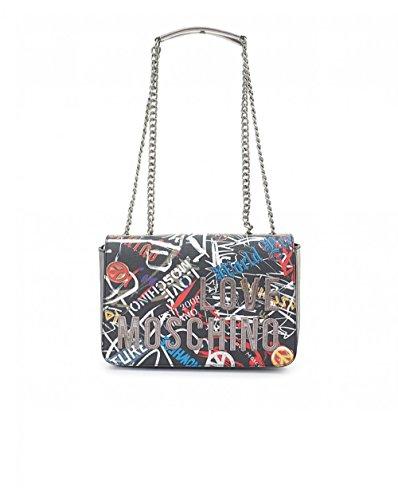 Love Moschino Borsa Digital Print Pvc, Bolsos maletín Mujer, Negro (Nero), 6x18x29 cm (B x H T)