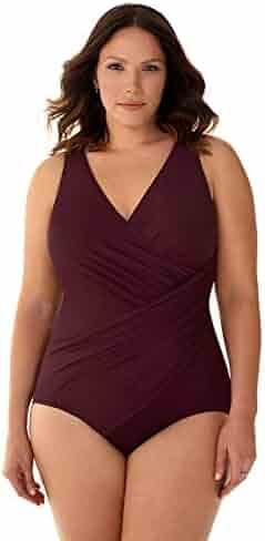 cb0bfa22fdc85 Miraclesuit Women's Plus Size Swimwear Solid Oceanus Sweetheart Neckline One  Piece Swimsuit