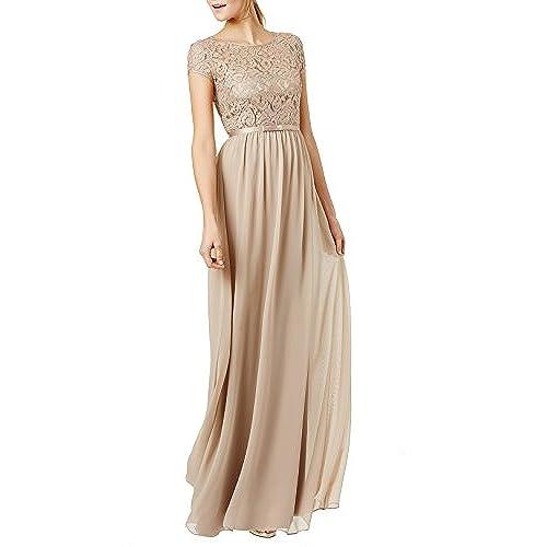 REPHYLLIS Womens Lace Cap Sleeve Evening Party Maxi Wedding Dress(S,Beige)