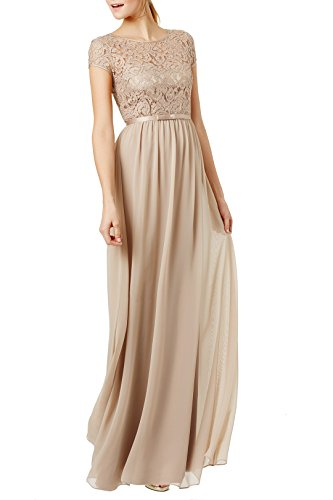 REPHYLLIS Women's Lace Cap Sleeve Evening Party Maxi Wedding Dress(L,Beige)