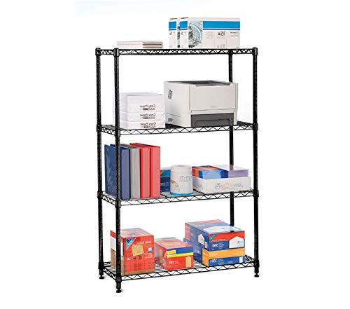 Home Décor Premium 4-Tier Black Epoxy NSF-Certified Steel Wire Shelving with Wheels 36