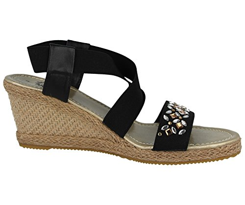 Black Toe 8 Fashion Jewel Joe Heel Effect Open Size Jo Sling 4 amp; Summer Elastic Ladies Back Strappy Wedge Raffia Canvas Cork Sandal X1Bqf