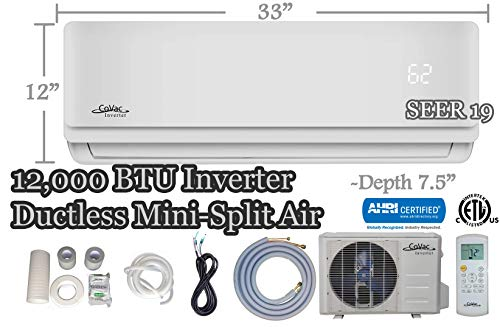 - CoVac 12,000 BTU Ductless Mini-Split Air Conditioner - Inverter SEER 19 - Cooling & Heating - Dehumidifier - 120v/60hz - PreCharged Condenser - Ultra Quiet - AHRI - 16 Feet Line Set + Accessories