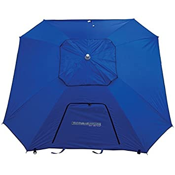 RIO BEACH 8 Ft. Extreme Shade Total Sun Block Beach Umbrella Shelter w/Window and Anchor - Blue