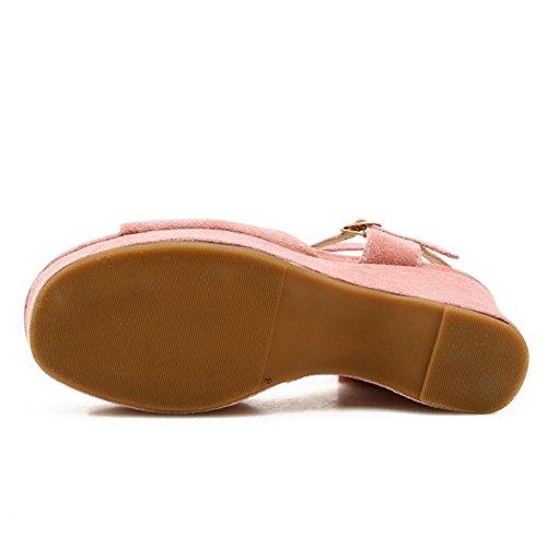 Correa 2 RAZAMAZA Clasico Mujer Sandalias Tacon de Cuna Pink 6wYSwgqA
