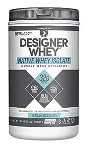 Designer Protein 100% Native Whey Isolate, Vanilla Milkshake, 1.85 Pound