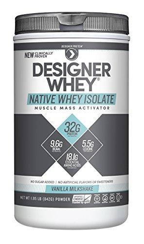 Designer Whey Native Whey Isolate, Vanilla Milkshake, 1.85 Pound, Protein Powder