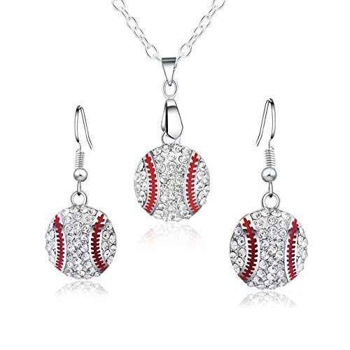 - Feximzl Baseball Pendant Necklace & Dangle Earrings Jewelry Set Sport Clear Crystal Fashion Jewelry (Silver Earrings+Necklace)