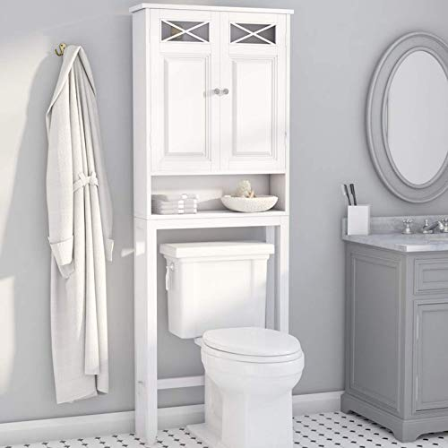 (Over The Toilet Storage Cabinet - Modern Space Saving Organizer with 2 Doors and Open Shelf)