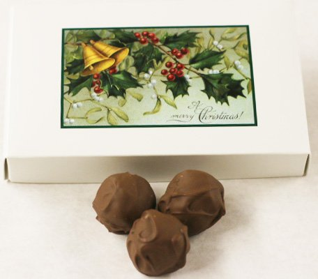 Scott's Cakes Milk Chocolate Covered Banana Marzipan Truffles in a 1 Pound Mistletoe Box ()