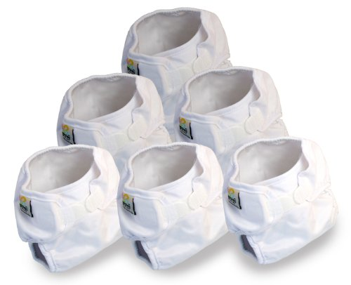 Real Nappies 6-Pack of Snug Wrap Prefold Diaper Covers, Newborn Size, for babies up to 12 weeks, 6 lb to 13 lb