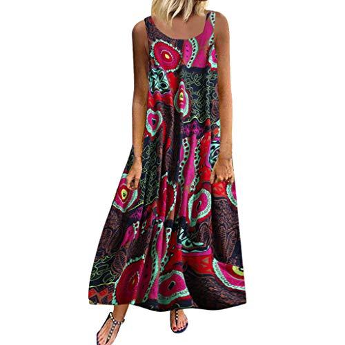 UONQD Women Plus Size Casual Loose Sleeveless Boho Retro Linen Print Long Maxi Dress Red
