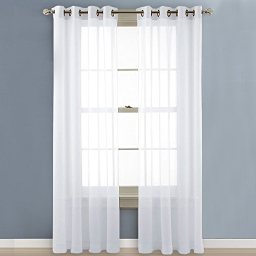 Nicetown Sheer Voile Window Curtain Panels With Grommet Top 2 Pack 54 Wide X Ebay