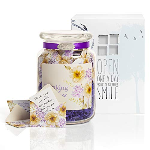 KindNotes Glass Keepsake Gift Jar with Sympathy Messages - Violet Thinking of You