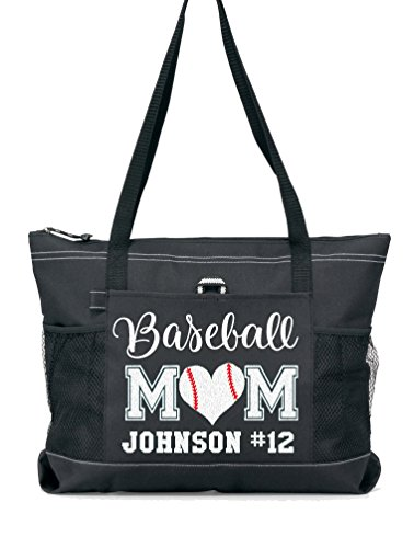 Baseball Mom Sports Tote with a Player's Name in Silver Glitter or Soft Solid White on a Black - Baseball Picture Players