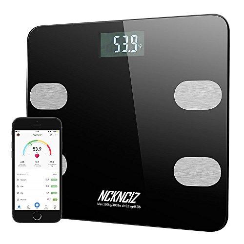 Báscula de Baño, Báscula Grasa Corporal, Balanza Bluetooth Inteligente Peso Digital, Monitores de Composición Corporal con APP para Android y iOS (Negro): ...