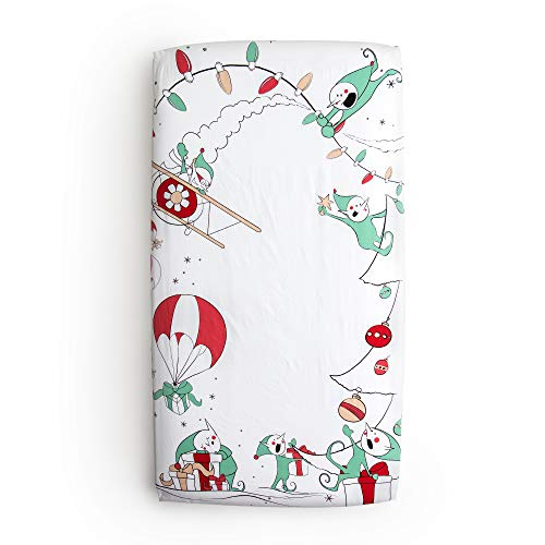 JumpOff Jo - 100% Cotton Super Soft Crib Sheet - Hypoallergenic and Breathable Crib Mattress Topper - Original Design - Christmas Mischief
